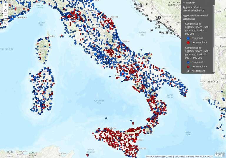 Cumplimiento de las normativas europeas sobre la recolección y tratamiento de aguas residuales en Italia.